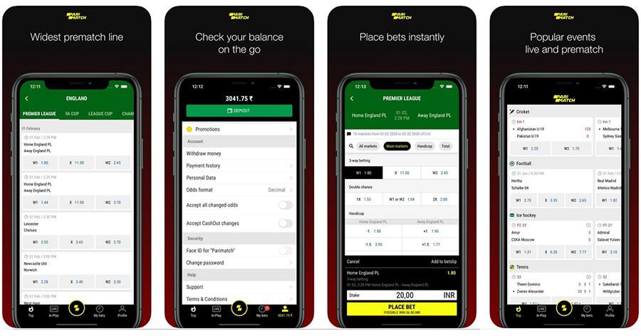 Parimatch mobile app.