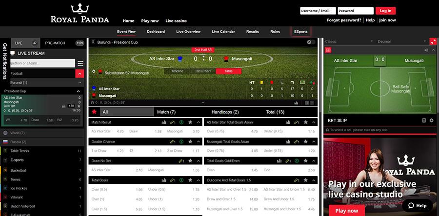 Royal Panda betting site and app.